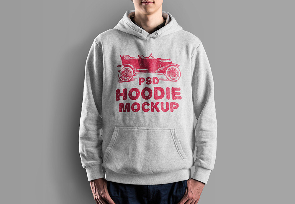 Desain Mockup Jaket Hoodie Gratis PSD Laki-Laki Warna Abu-Abu