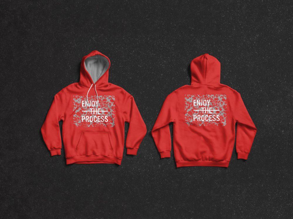 Desain Mockup Jaket Hoodie Laki-Laki PSD Gratis Merah