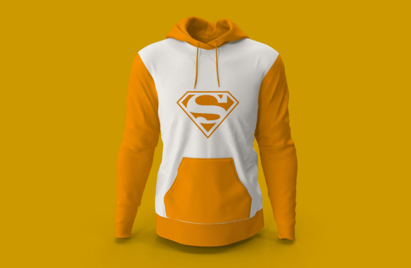 Desain Mockup Jaket Hoodie Superman Gratis Warna Kuning Putih